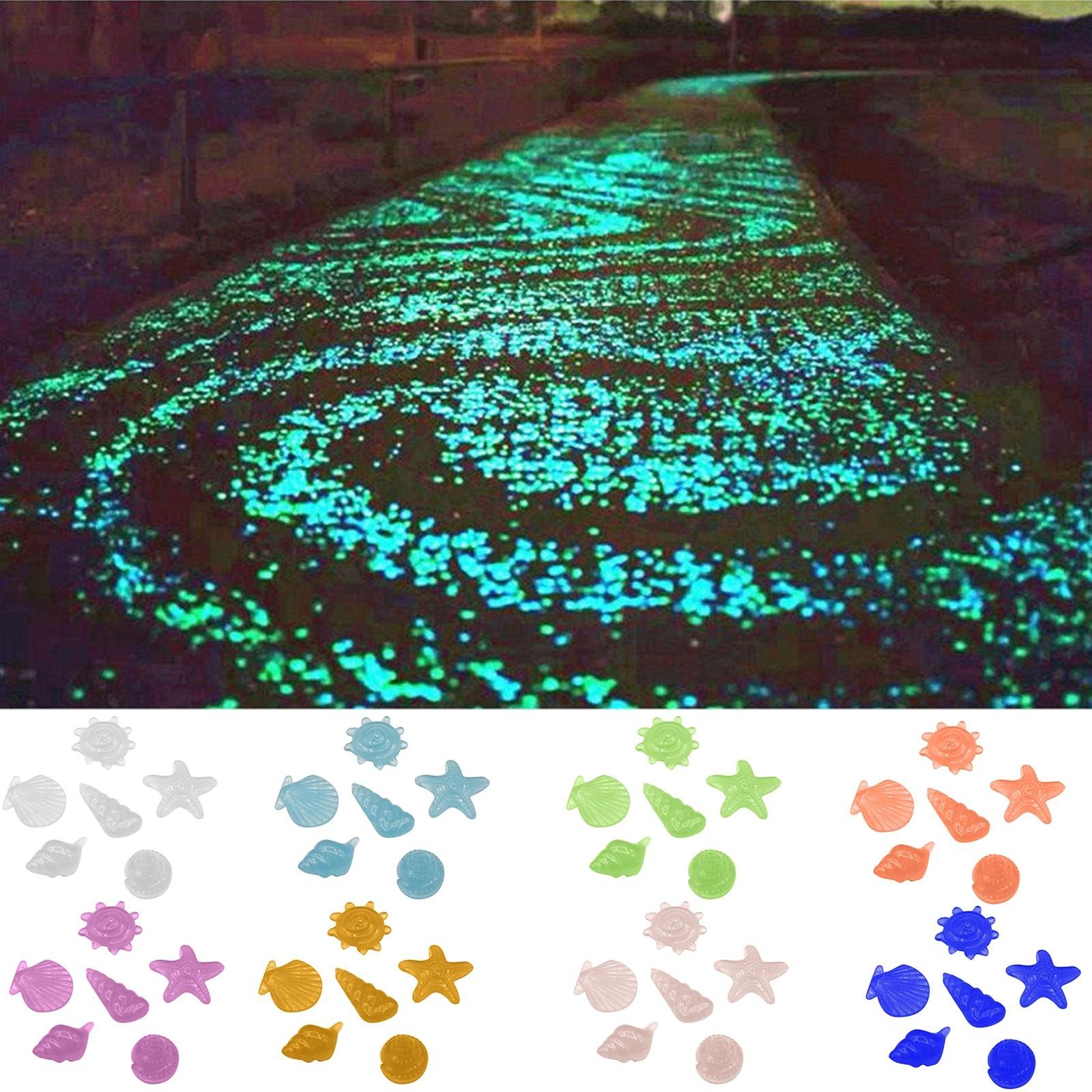 10Pcs shape luminous stones, starfish and conch shells, fish tank landscape luminous stones Aquarium Fish Tank Landscaping