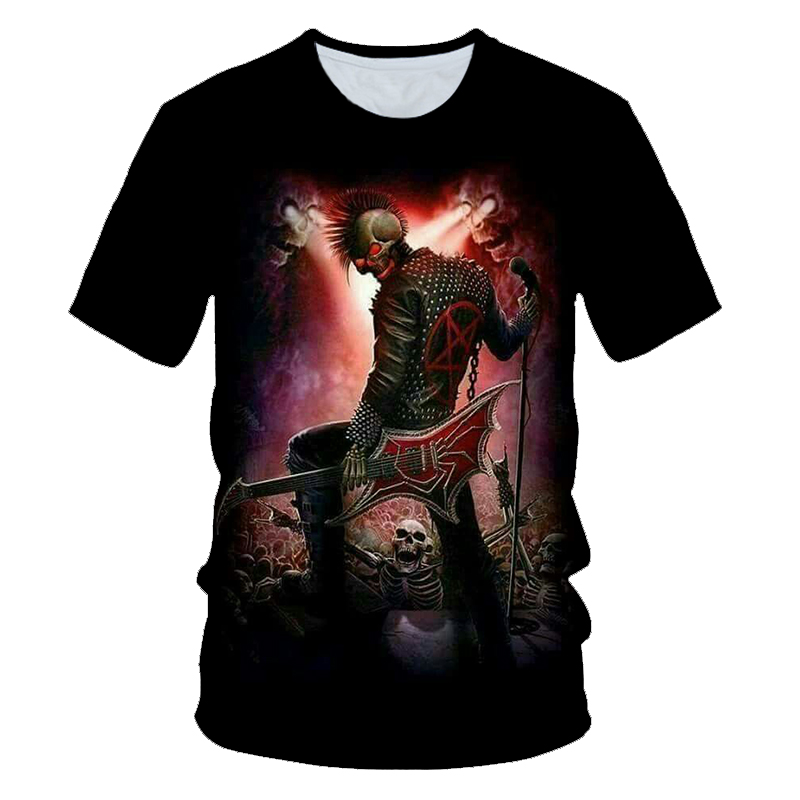 3D Printed Rock Punk Skull T-shirt Summer Fashion Casual Street Shirt For Men And Women With Short Sleeves