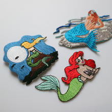1pc mermaid embroidered Patches for Clothing iron on Embroidery Stickers Clothing Applique Decoration carton Badge bueaty 1pc landscape embroidered patches for clothing sew on tree embroidery parches for backpack clothing applique decoration badge