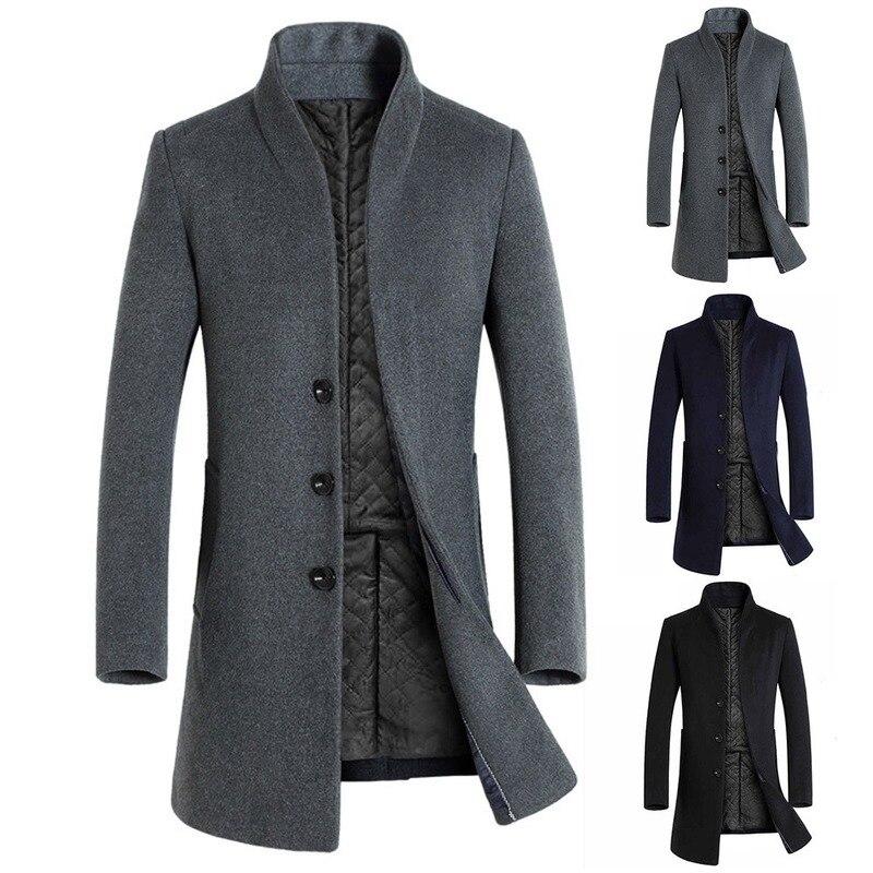 Windbreaker Jacket Velvet Stand-Up Winter Casual Thick Mid-Length-Sleeve Slim Warm Men's