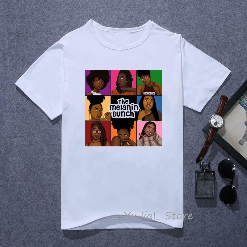 The melanin bunch Funny graphic t shirts women vogue Urban black girl print tee shirt 90s best friends tshirt female t-shirt 1