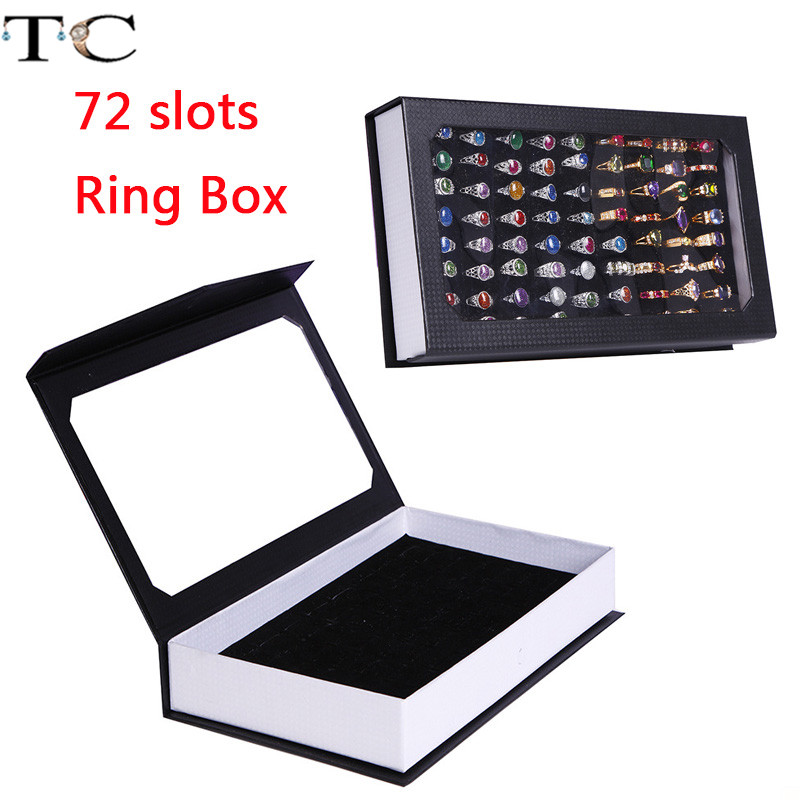 Rings Display Tray Rectangle Jewelry Display Tray Container 72 Slots Rings Storage Case Earrings Box Ring Box Display Storage