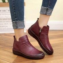 Livraison directe mode Autum bottes plates en cuir véritable cheville chaussures Vintage chaussures décontractées conception de marque rétro à la main femmes botte