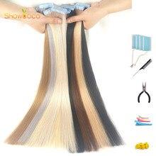 Светлая лента для наращивания ShowCoco, 100% натуральные человеческие волосы, самоклеящаяся лента без повреждений, 20/40 шт., лента из человеческих ...