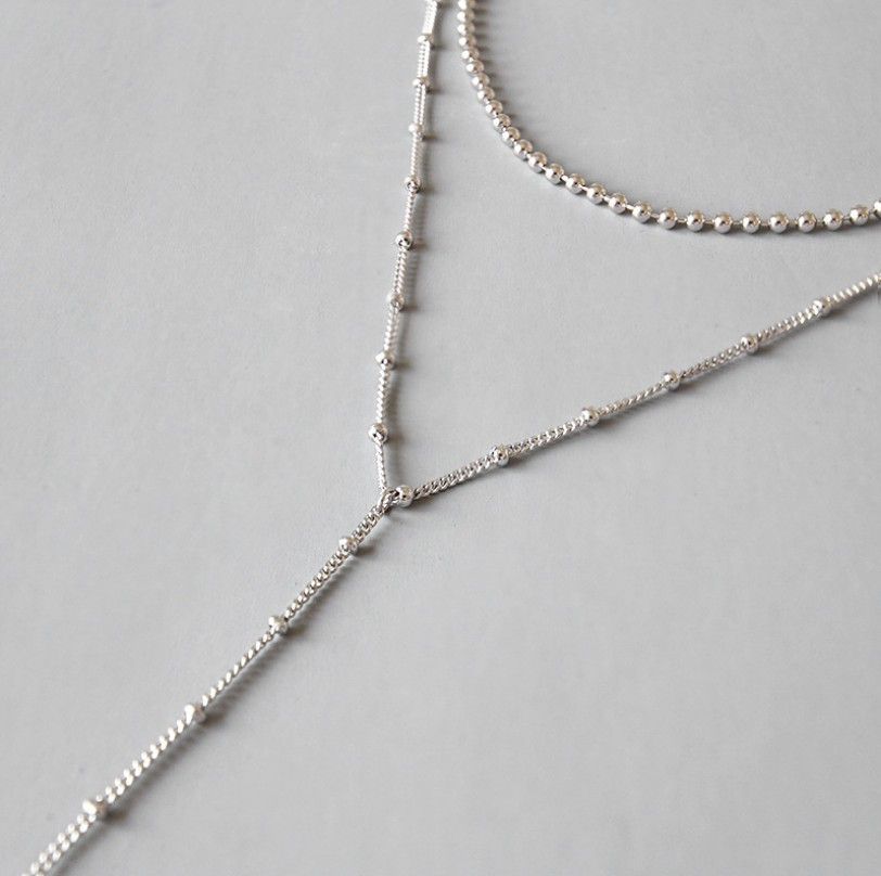 Minimalist 925 Silver Long Pendant Necklace for Women Sterling Silver Choker Necklaces Ball Chain Fine Jewelry Gifts