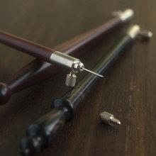 Crochet à aiguille en bois de santal naturel avec 3 aiguilles, outil de Couture de perles scintillantes