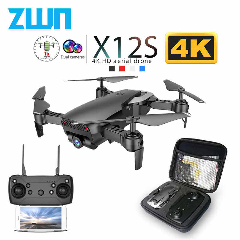 X12 X12S WiFi FPV RC Drone with 0.3MP/1080P/4K HD Dual Camera Optical Flow RC Quadcopter for Toys Kid Dron vs SG106 M69G XS816