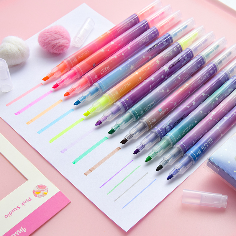 12pcs Constellation Color Highlighter Pen Set Starry Star Zodiac Dual-side Marker Liner For Drawing Paint Office School A6065