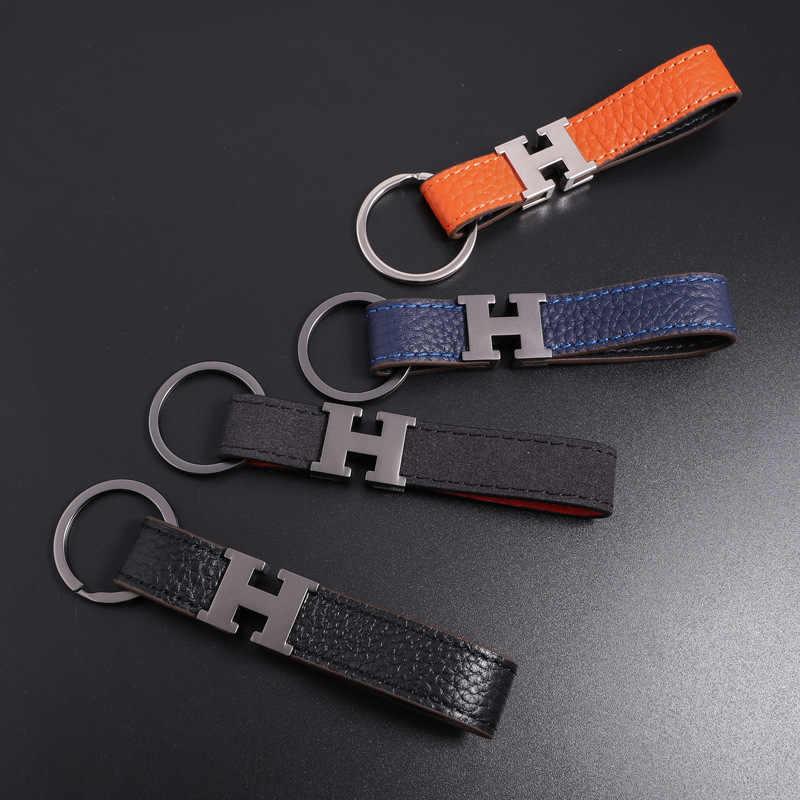 H lettre boucle voiture porte-clés cadeaux créatifs porte-clés en cuir en relief porte-clés hommes taille suspendue en cuir naturel 107