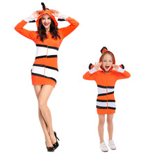 Clown poisson Costume Parents et enfants océan thème fête Cosplay tissu maternelle vacances Performance Costume