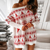 Christmas Snowflake Elk Print Party Dress Winter Autumn Long Sleeve Mini Dress Women Elegant Off Shoulder Knit Sweater Dress 2