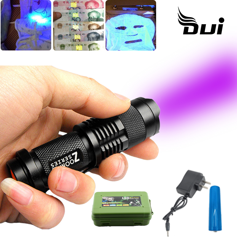 DUI Mini Straight Tube Portable Violet Ray 365nm Ultraviolet Zoom Rechargeable Led Uv Flashlight 18650 Lamp