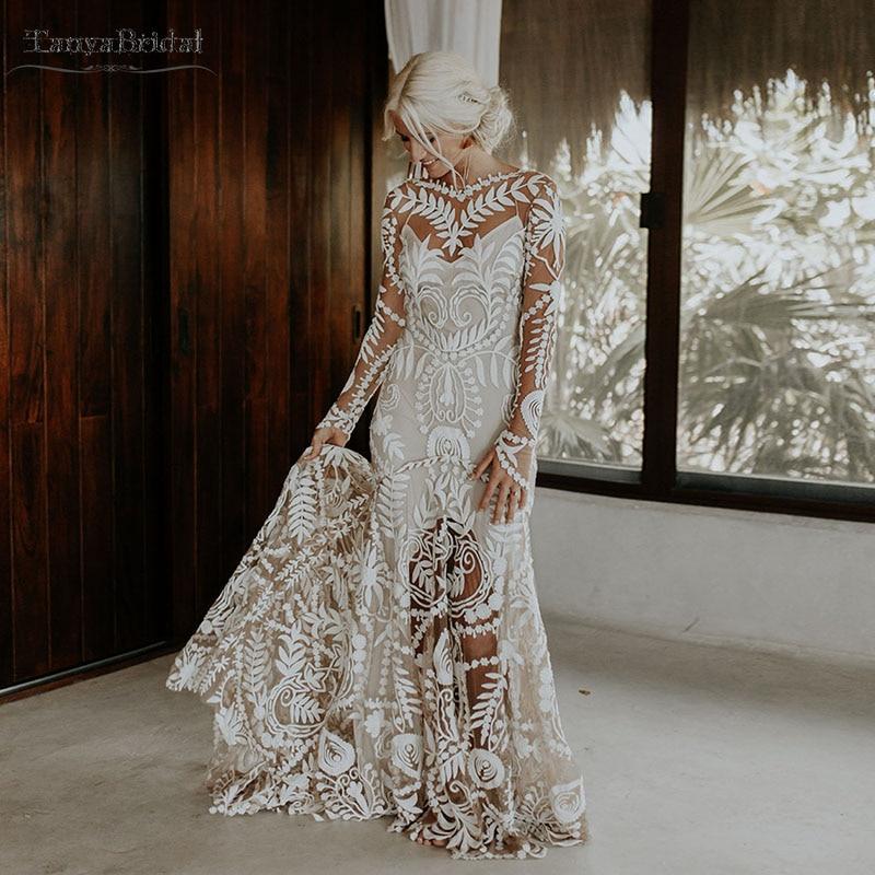 Dramatic Cornelli Lace Wedding Dresses Long Sleeve Low Back Full Skirt Bridal Gowns Chic Noivas Boho Rue De Soriee Dw198 Aliexpress