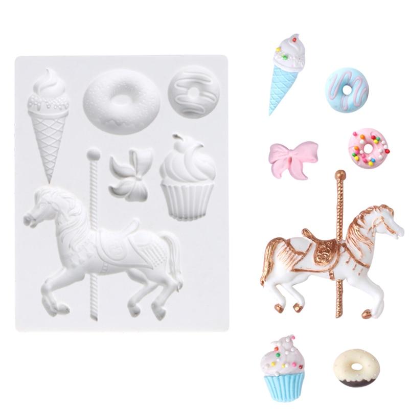 Trojan Ice Cream Baby Meal Fondant Moulds Carousel Horse Cake Decoration Fondant Silicone Mold Chocolate Diy Baking Tools k924