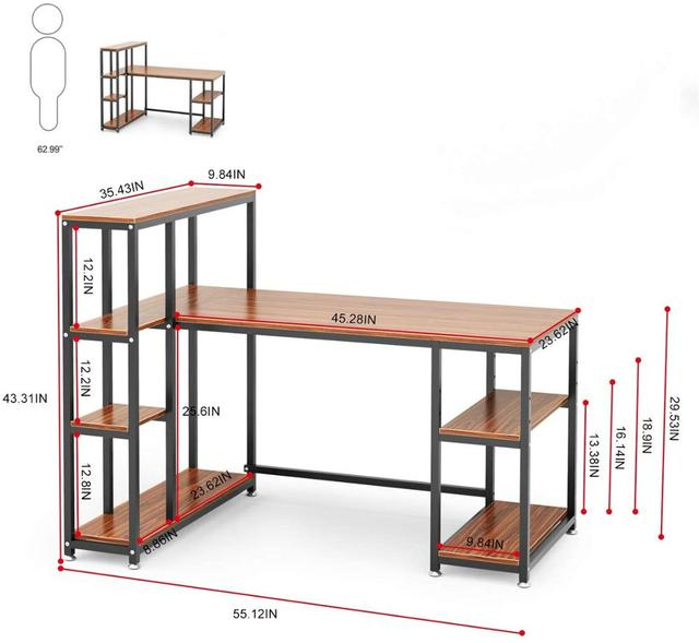 55 Inch Computer Desk  Table with Side Storage Shelf  6