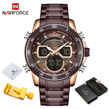 NAVIFORCE Mens Military Sports Waterproof Watches Luxury Analog Quartz Digital Wrist Watch for Men Bright Backlight Gold Watches 8