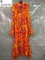 Quality Silk 2020 Top Summer Women Geometric Prints Ball Button String Belt Deco Long Sleeve Beach Maxi Dress Orange