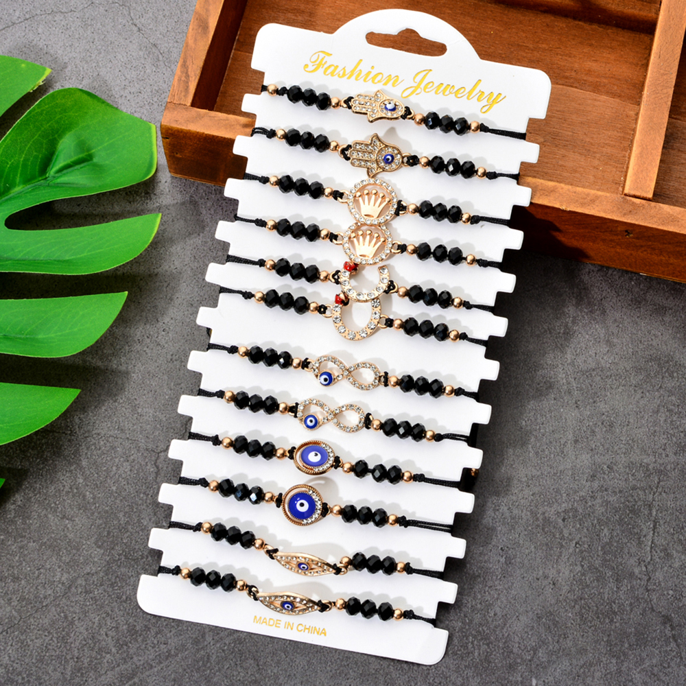12pcs/lot Handmade Woven Rope Chain Bracelet Set Alloy Crown  Charms Crystal Beads Bracelets for Women Infinity Love Jewelry