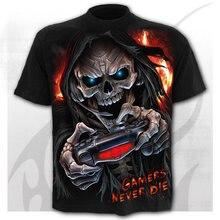 Camiseta de Skeleton para hombre, camisa Punk Rock con estampado 3d de gran tamaño, ropa Vintage para hombre, tops negros de tal