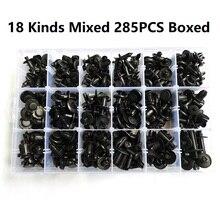 285 adet araba vücut plastik itme pimi perçin bağlantı elemanları Trim kalıp klip karışık 18 çeşit tampon çamurluk yaprak plaka tutucu