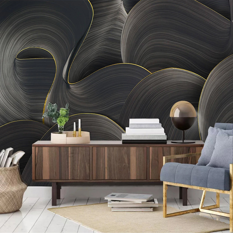 Custom 3D Non-woven Wallpaper Murals Modern Abstract Lines Art Mural Wallpapers For Bedroom Living Room Decoration Wall Painting