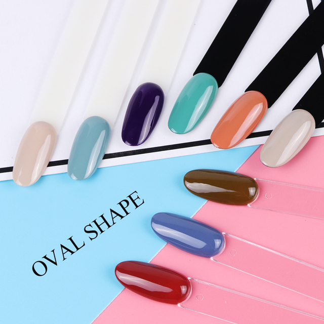 Clear Nature Black False Tips For Nail Art Display Oval Fan Style Nail Swatch Polish Stand Tips Practice Manicure Tools BEA23-1 2
