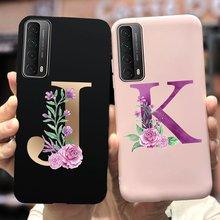 Dla Huawei P Smart 2021 Case PPA-LX2 śliczne 26 liter miękkie etui na telefony kwiat tylna pokrywa dla Huawei PSmart 2021 Case Funda zderzak