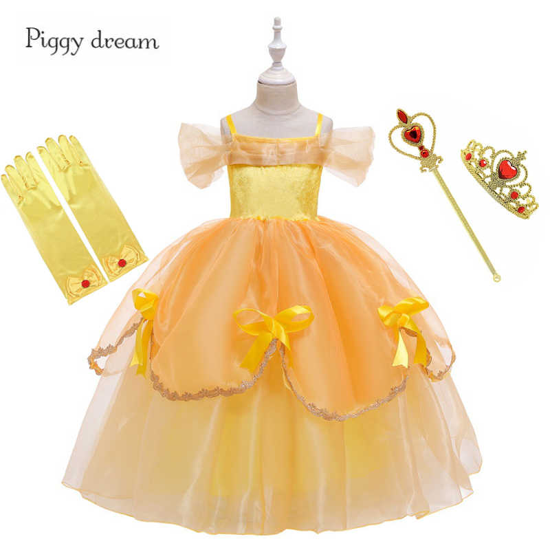 Beauty And The Beast Cosplay Costume Set Princess Gown Ball Belle Dress for Girl