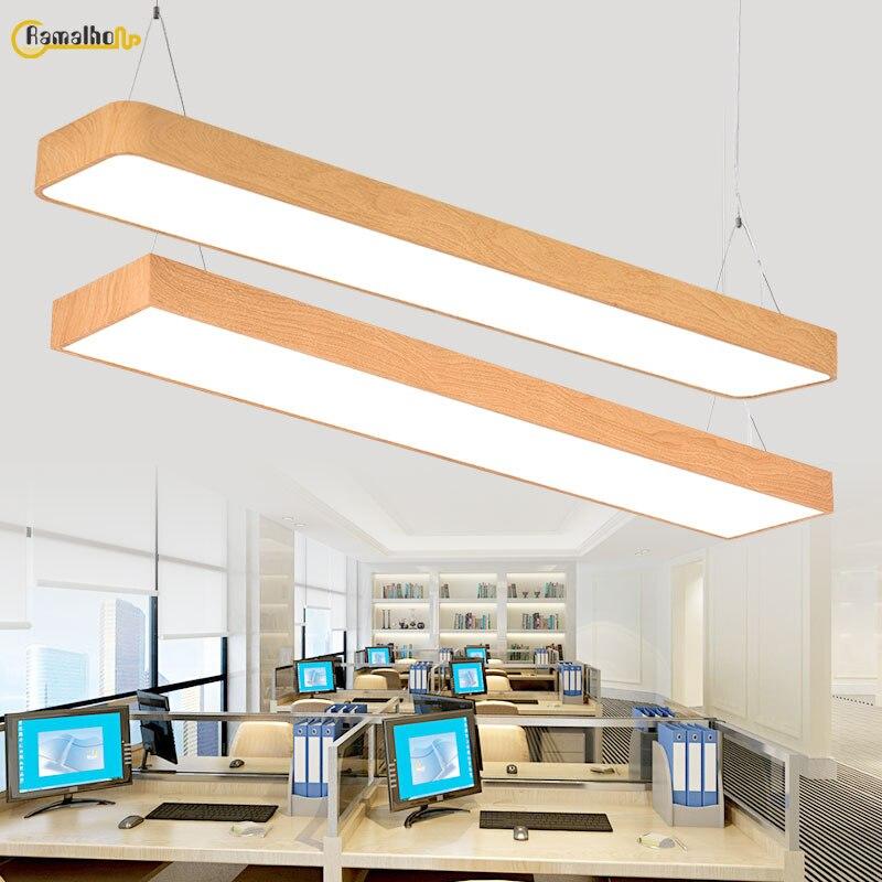 Скандинавский Креативный светодиодный длинный подвесной светильник для ресторана, офиса, студии, деревянный подвесной светильник для