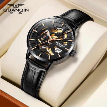 GUANQIN2020 nouvelle montre hommes squelette automatique mécanique montre or squelette rétro montre pour hommes montre pour hommes haut de gamme de luxe