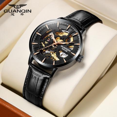 Esqueleto de Ouro Topo da Marca de Luxo Novo Relógio Masculino Esqueleto Automático Mecânico Retro Guanqin2020