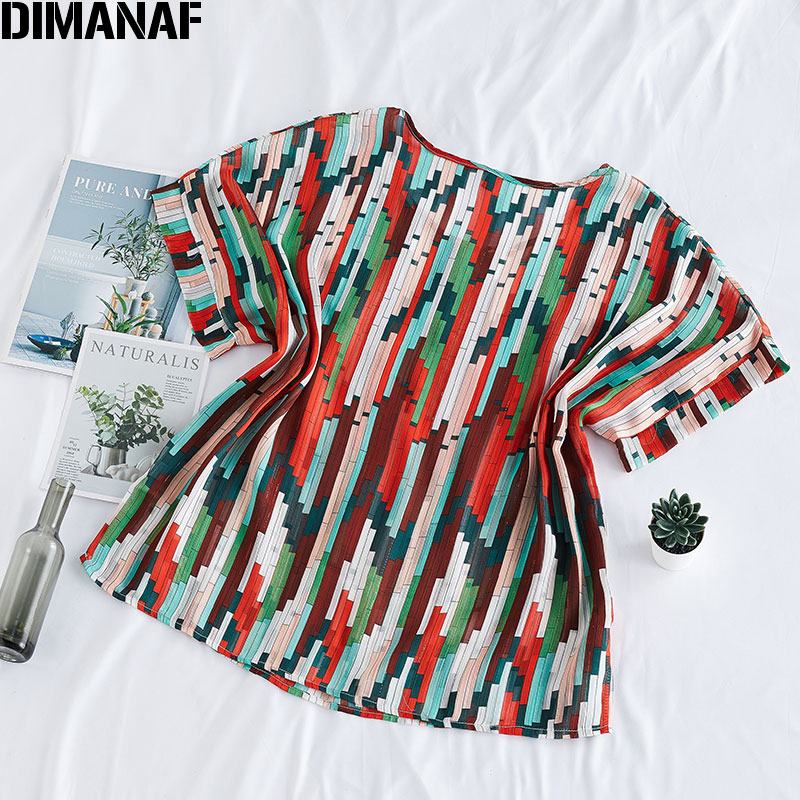 DIMANAF 2020 Summer Plus Size Women T-Shirts Loose Casual Lady Tops Tunic Tee Shirts Oversize Female Clothing Print Striped New