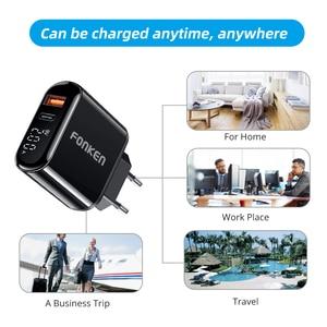 Image 5 - FONKEN cargador rápido 3,0 PD, 2 puertos de carga rápida para cargador de teléfono, puerto USB tipo C, adaptador de pared, pantalla LED, cargadores de tablero