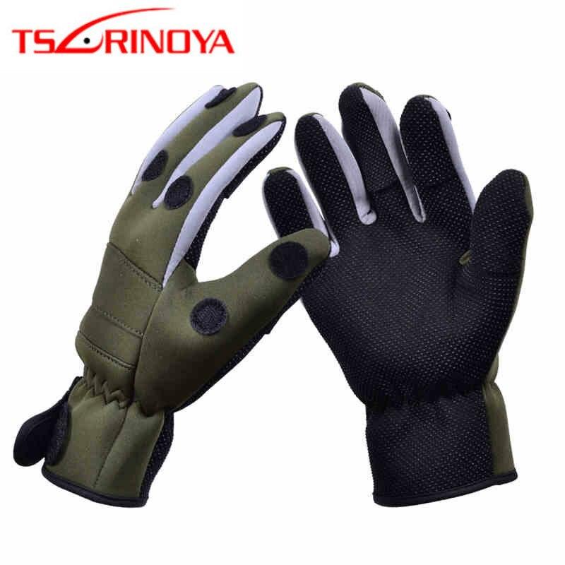 TSURINOYA Breathable Anti-slip Fishing Gloves 1 Pair X XL Full Finger/Three Finger Neoprene Winter Gloves Outdoor Fishing Tackle