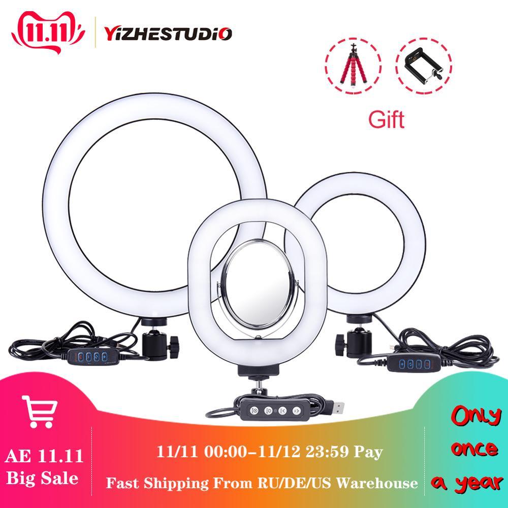 Yizhestudio 6 /10 Ring Licht Dimmbare LED Selfie Ring Lichter für Live Studio Make-Up Fotografie mit Freies stative Telefon Clip