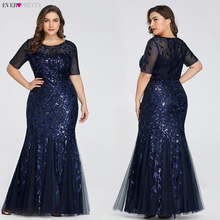 Plus Size Elegant Evening Dresses Saudi Arabia Ever Pretty Mermaid Sequined Lace Appliques Mermaid Long Dress 2020 Party Gowns cheap Ever-Pretty O-Neck NONE Floor-Length Polyester Trumpet Mermaid Formal Evening Embroidery REGULAR Short EZ07707NB Tulle