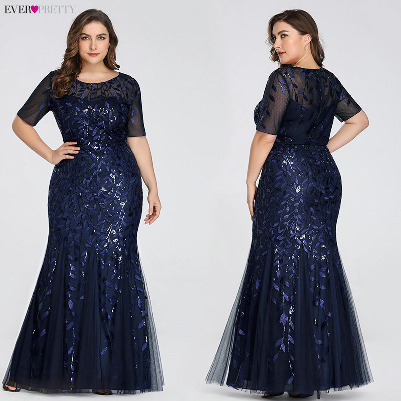 Plus Size Elegant Evening Dresses Saudi Arabia Ever Pretty Mermaid Sequined Lace Appliques Mermaid Long Dress 2020 Party Gowns