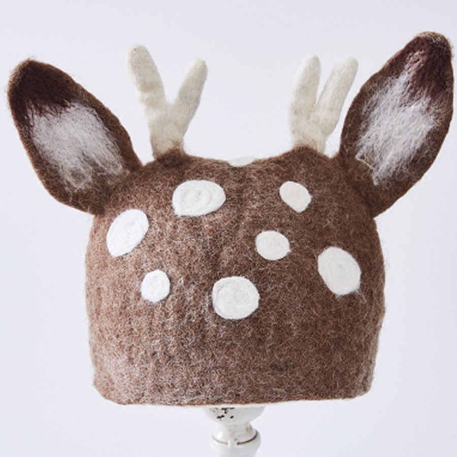 Оригинальные шерстяные фетровые шляпы с ушками в горошек для женщин, модные, художественные, ручной работы, для девочек, подшлемник лесной эльф