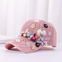 Hat Women Baseball-Caps Light Sequins Luxury Adjustable Decoration Beads Flower-Dec Hip-Hop