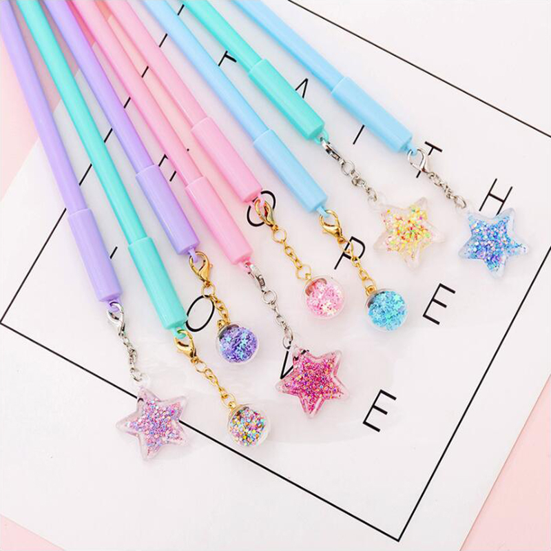Transparent Pendant Gel Pen DIY Office Stationery School Supplies Smooth Writing Black And Blue Ink Pen 0.5mm 1PCS