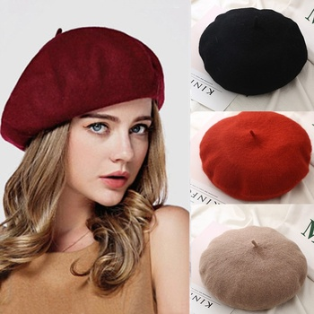 French Beret Caps for Women Autumn Winter Outdoor Berets Street Style Plain Cap Wool Warm Femme Girl's Beanie Hat Caps image