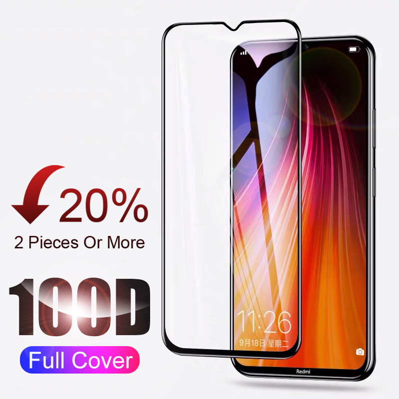 100D Curved Full Cover Protective Tempered Glass For Xiaomi Redmi 8 7 Note 8 7 6 Pro Screen Protector Glass For Redmi 6A 7A 8A