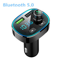 цена на 2020 MP3 player new with flash FM transmitter modulator Bluetooth 5.0 hands-free car kit audio QC3.0 fast automatic car charger