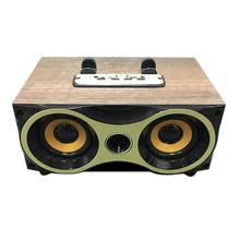Retro Nirkabel Bluetooth Kayu Butir Speaker Subwoofer Stero Mendukung FM Radio MP3 AUX USB Handsfree MIC Speaker untuk Ponsel PC(China)