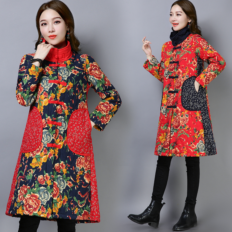 2019 New Fashion Women Autumn Winter   Parkas   Chinese Style Long Coats Ladies Slim Stand Collar Printed Padded Cotton Jackets V907