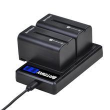 2Pcs 5200mAH NP-F750 NP-F770 Camera Battery + LCD USB Dual Charger for Sony NP F970 F960 F550 F570 QM91D CCD-RV100 TRU47E