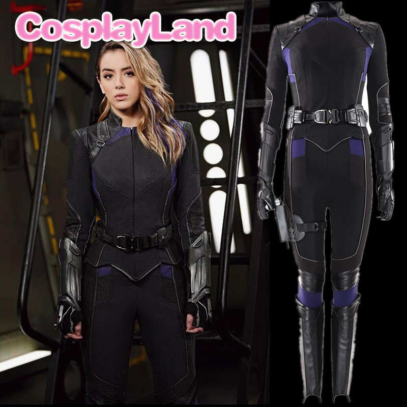 Agents of <font><b>S</b></font>.H.I.E.L.<font><b>D</b></font>. Season 6 Skye Cosplay Costume Halloween Quake Black Outfit <font><b>Sexy</b></font> Daisy Johnson Shield Women Jacket image