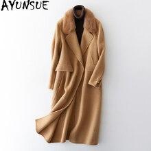 AYUNSUE dwustronnie wełny płaszcz kurtka damska 2020 kurtka zimowa kobiety futro z norek alpaki płaszcze wełniane koreański znosić MY3802