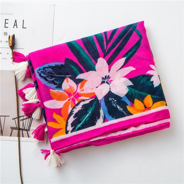2020 luxury bobo scarf women autumn spring Thailand style long floral pattern hijab scarf  Sjaal Muslim Hijab Snood