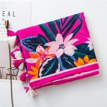 2020 luxus bobo schal frauen herbst frühling Thailand stil lange floral muster hijab schal Sjaal Moslemisches Hijab Snood